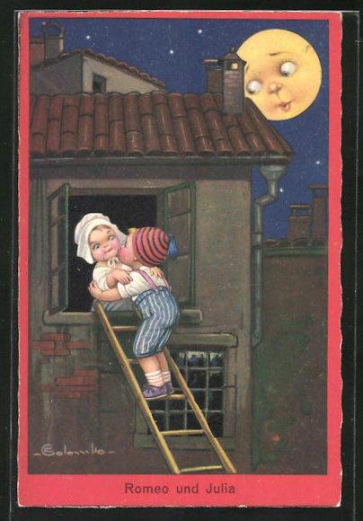 Künstler-AK E. Colombo: Junge steigt zu seiner kleinen Freundin ins Fenster, Romeo und Julia