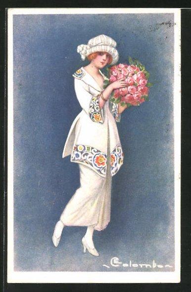 Künstler-AK E. Colombo: Elegante Dame mit Rosenbukett in der Hand