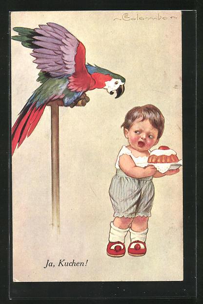 Künstler-AK E. Colombo: Kleiner Junge mit Kuchen in der Hand fürchtet sich vor dem kreischenden Papagei