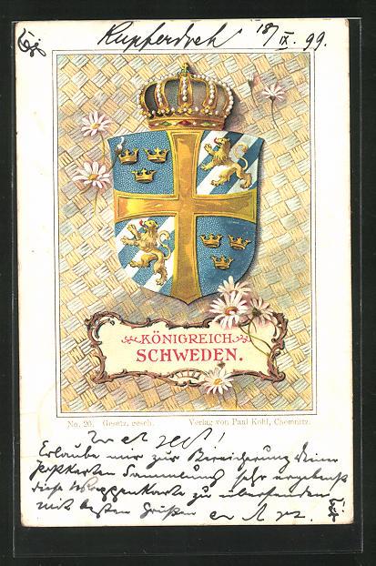 AK Schweden, Wappen u. Krone