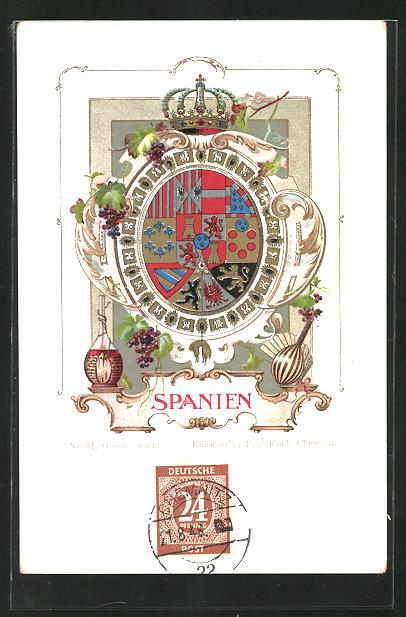 AK Spanien, Wappen und Krone