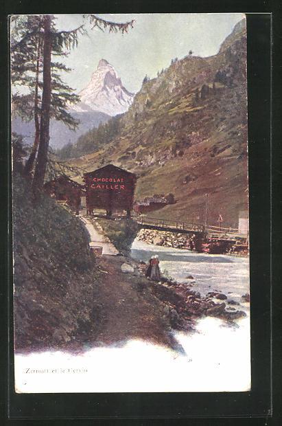 AK Zermatt, Ortspartie mit Cervin, F. -L. Cailler, Schweizer Milch-Chocolade, Hütte mit Werbung