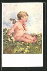 Künstler-AK K. Barth: Engel sitzt auf einer Blumenwiese und schaut den Schmetterlingen zu