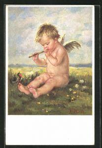Künstler-AK K. Barth: Engel spielt auf einer Blumenwiese Flöte, ein Vogel sitzt auf seinem Fuss