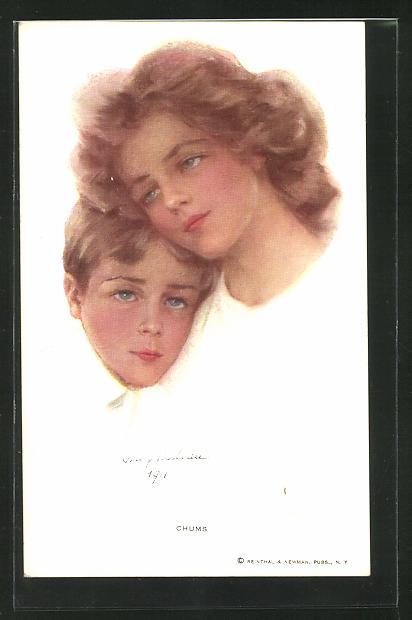 Künstler-AK Philip Boileau: Chums, Junge Frau und ein kleiner Junge