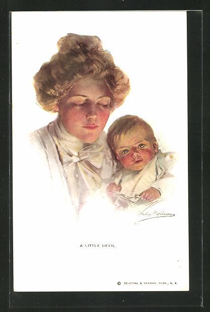 Künstler-AK Philip Boileau: A little Devil, Junge Mutter mit einem Baby im Arm