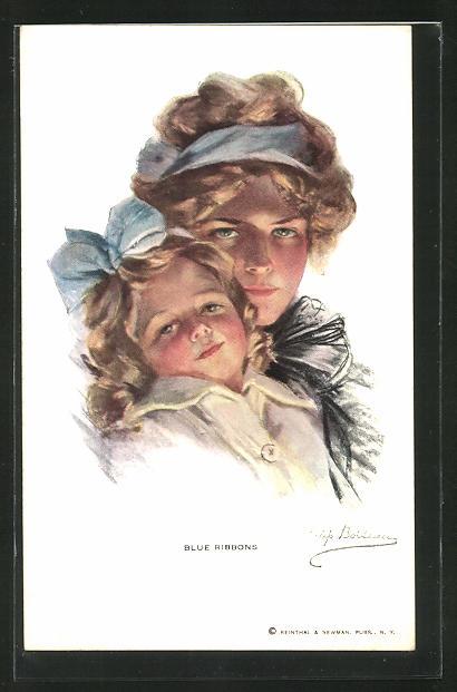 Künstler-AK Philip Boileau: Blue Ribbons, Junge Frau und Mädchen mit Blauen Haarbändern