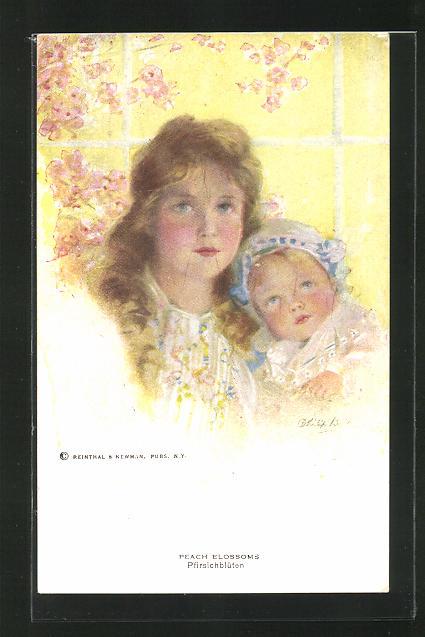 Künstler-AK Philip Boileau: Pfirsichblüten, Junge Frau mit einem Baby auf dem Arm