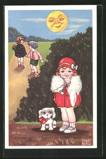 Künstler-AK Margret Boriss: Kommt er?, Kommt er nicht?, Wartendes Mädchen im roten Mantel