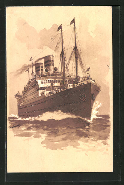 Künstler-AK Hans Bohrdt: Passagierschiff Cleveland auf hoher See