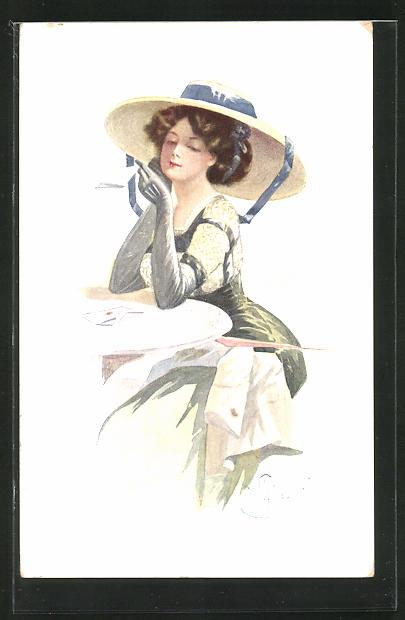 Künstler-AK W. Braun: Junge Dame mit Hut sitzt am Tisch und liest einen Brief