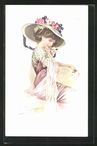 Künstler-AK W. Braun: Junge Dame mit Hut sitzt auf einer Mauer und liest eine Nachricht