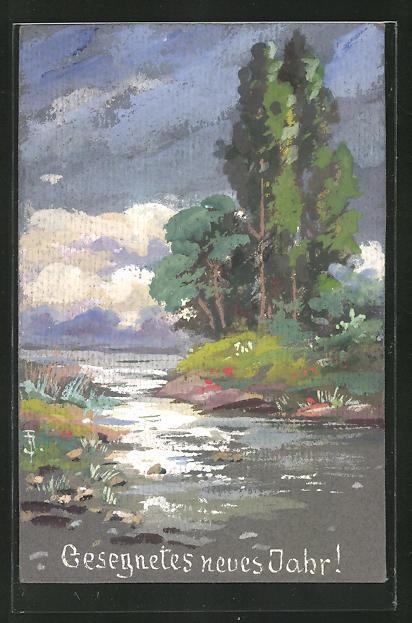 Künstler-AK Handgemalt: Landschaft mit Bäumen am Fluss, Neujahrsgruss 1919