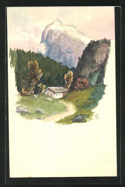 Künstler-AK Handgemalt: Haus in einer Berglandschaft