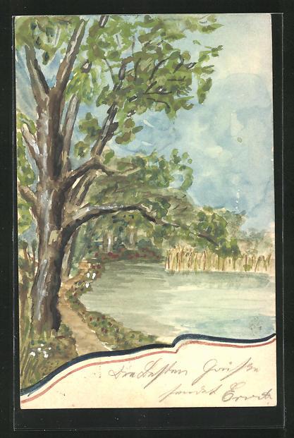 Künstler-AK Handgemalt: Baum am Flussufer