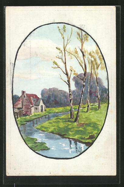 Künstler-AK Handgemalt: Haus am Flussufer