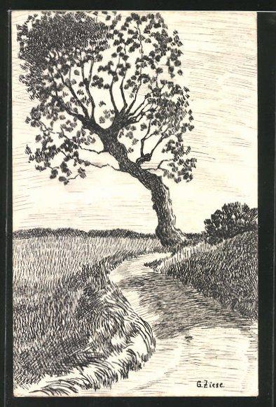 Künstler-AK Handgemalt: Baum in sommerlicher Landschaft