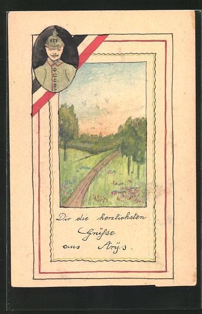 Künstler-AK Handgemalt: Portrait Soldat in Uniform u. sommerliche Landschaft, Schützengrabenkunst