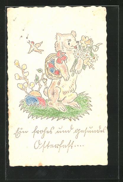 Künstler-AK Handgemalt: Hund mit Blumenstrauss und Osterkorb, Ostergruss