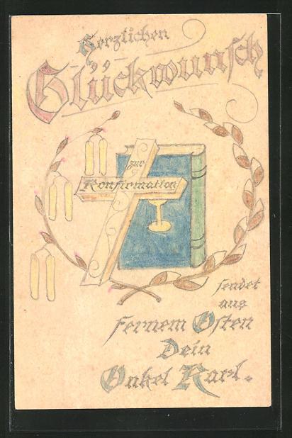 Künstler-AK Handgemalt: Kreuz und Gebetsbuch, Glückwunsch zur Konfirmation