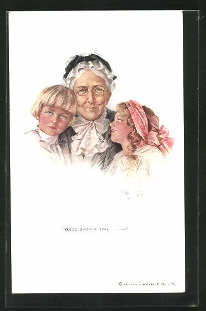 Künstler-AK Philip Boileau: Once upon a Time, Grossmutter mit ihren beiden Enkeln