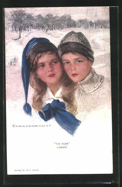 Künstler-AK Philip Boileau: Liebelei, Junge und Mädchen in einer Winterlandschaft
