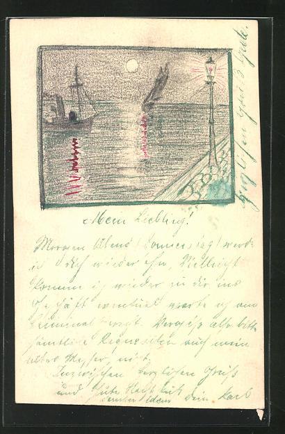 Künstler-AK E. Ernst: Uferpartie mit Laterne bei Vollmond, Boot auf dem Wasser