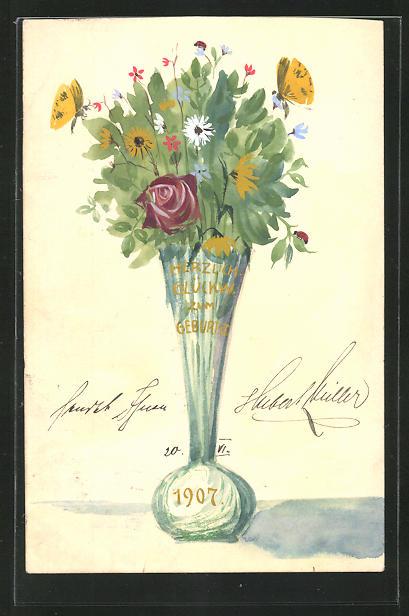 Künstler-AK Handgemalt: Blumenstrauss, Glückwunsch zum Geburtstag 1907