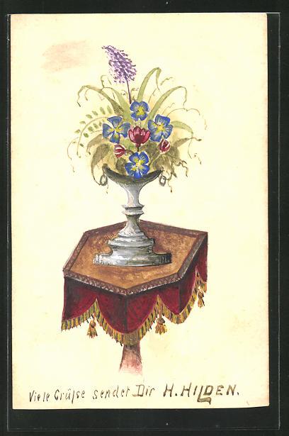 Künstler-AK Handgemalt: Blumenstrauss in einer Vase auf dem Tisch