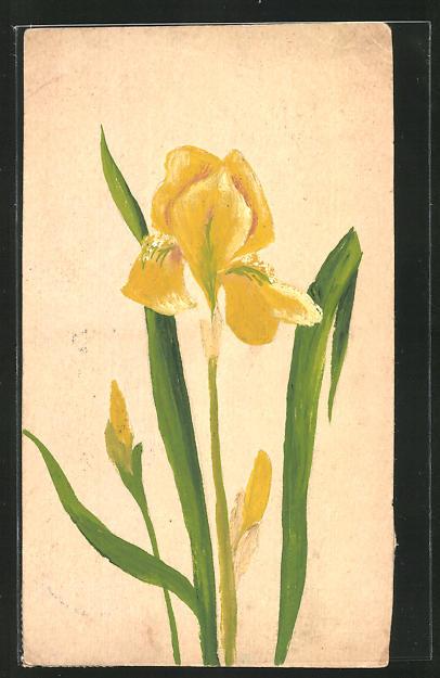 Künstler-AK Handgemalt: Gelbe Blume
