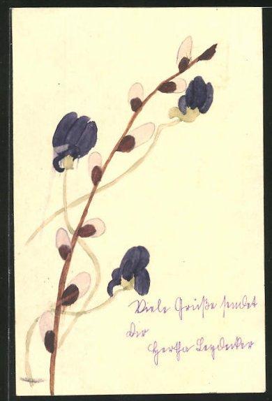 Künstler-AK Handgemalt: Violette Blüten