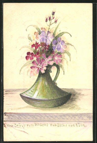 Künstler-AK Handgemalt: Blumenstrauss in einer Vase