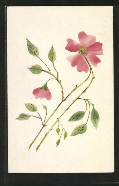 Künstler-AK Handgemalt: Zwei rote Blumen