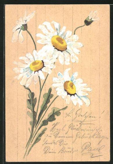 Künstler-AK Handgemalt: Weisse Wiesenblumen