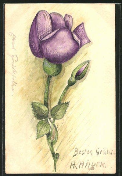 Künstler-AK Handgemalt: Violette Blume