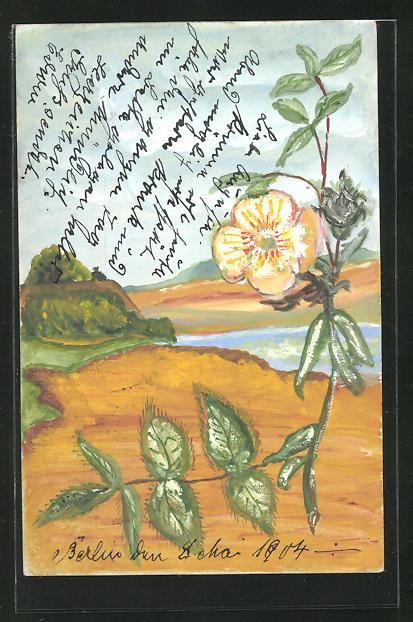 Künstler-AK Handgemalt: Blume in einer Landschaft am Wasser