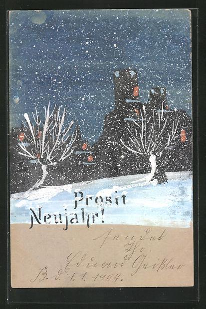 Künstler-AK Handgemalt: Landschaft im Schnee, Neujahrsgruss