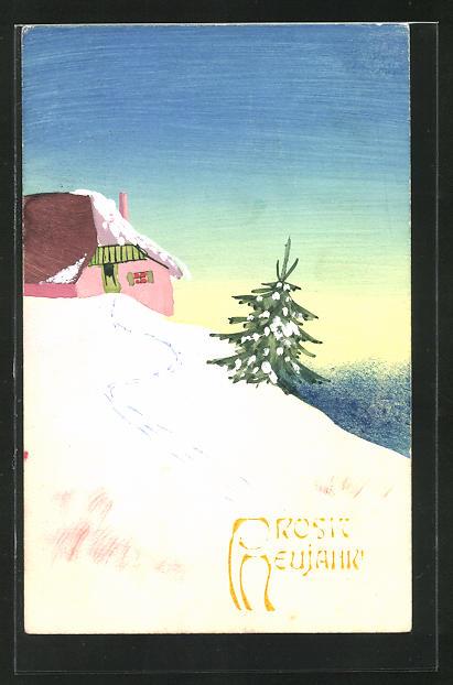 Künstler-AK Handgemalt: Haus in einer Winterlandschaft mit Tannenbaum, Neujahrsgruss