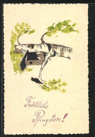 Künstler-AK Handgemalt: Vogelhaus auf einem Baum, Pfingstgruss