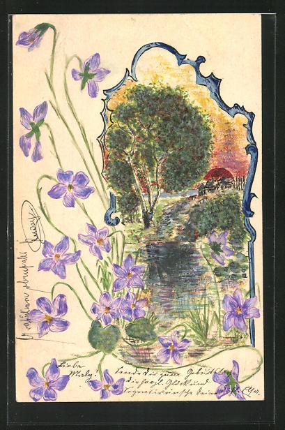 Künstler-AK Handgemalt: Häuser in einer Sommerlandschaft mit Blumen