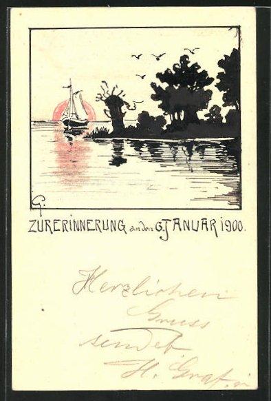 Künstler-AK Handgemalt: Landschaft am See mit einem Segelboot 1900