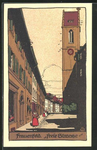 Steindruck-AK Frauenfeld, Blick in die Freie Strasse