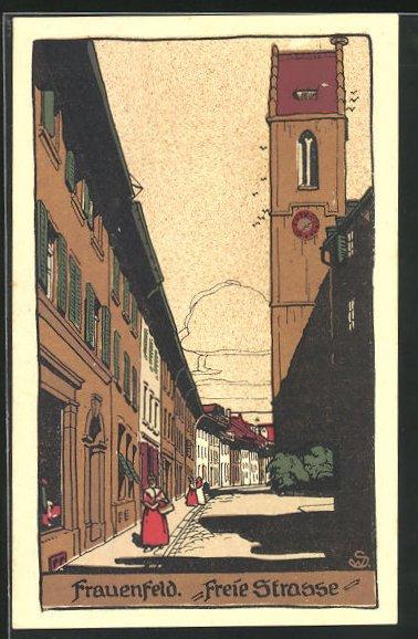 Steindruck-AK Frauenfeld, Freie Strasse mit Passanten und Kirchturm