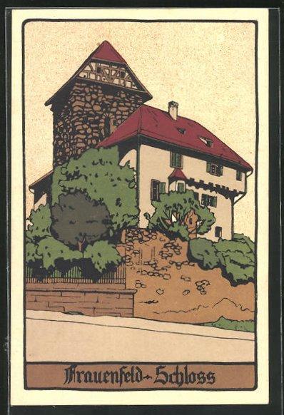 Steindruck-AK Frauenfeld, Blick auf das Schloss