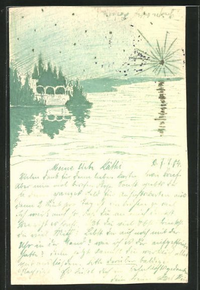 Künstler-AK Handgemalt: Schlösschen am Seeufer und hell leuchtender Stern