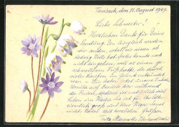 Künstler-AK Handgemalt: Zart violette Blumen