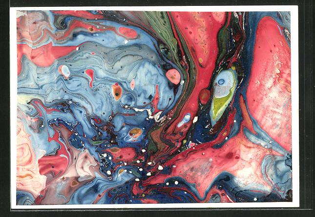 Künstler-AK Handgemalt: Abstrakte Farbschlieren in blau und rot
