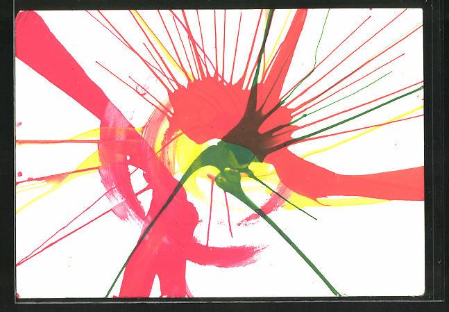 Künstler-AK Handgemalt: Abstrakte Malerei in rot, grün und gelb