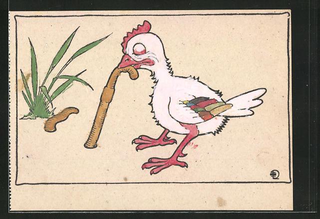 Ausmal-AK Huhn zerrt einen Regenwurm aus der Erde