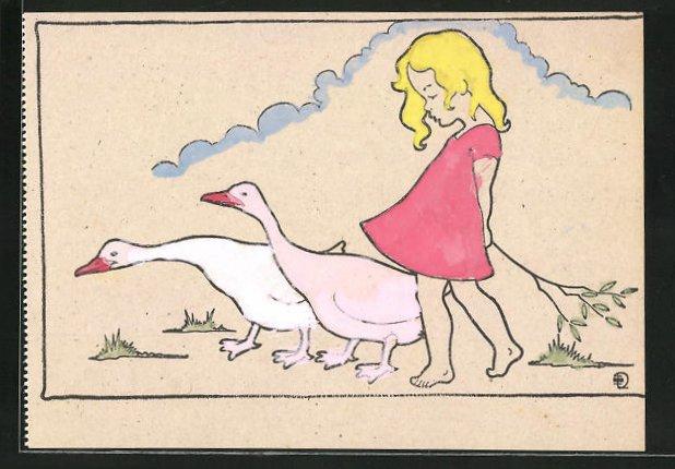 Ausmal-AK Kleine Gänsemagd mit blondem Haar